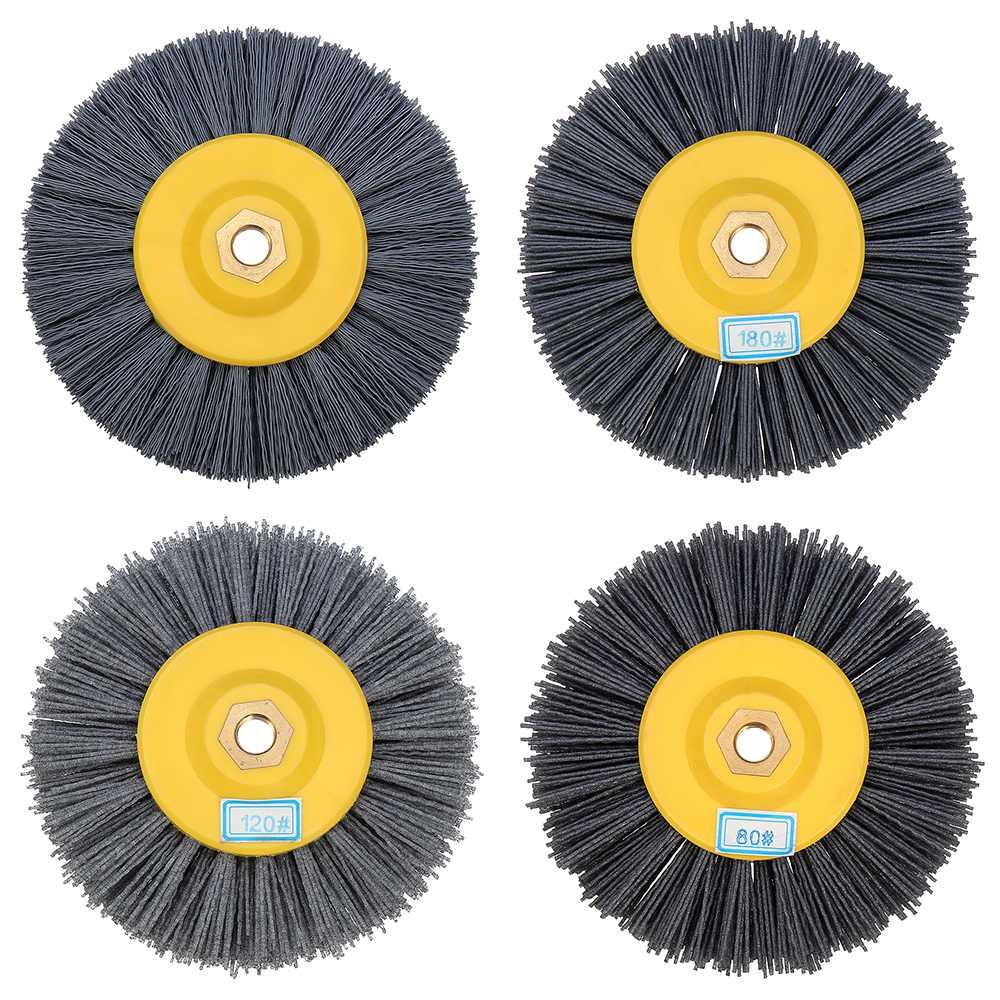Roda de desenho de nylon 150x40mm m14, escova de roda de desenho de fio de nylon 80/120/180/320 grit tambor, roda de polimento