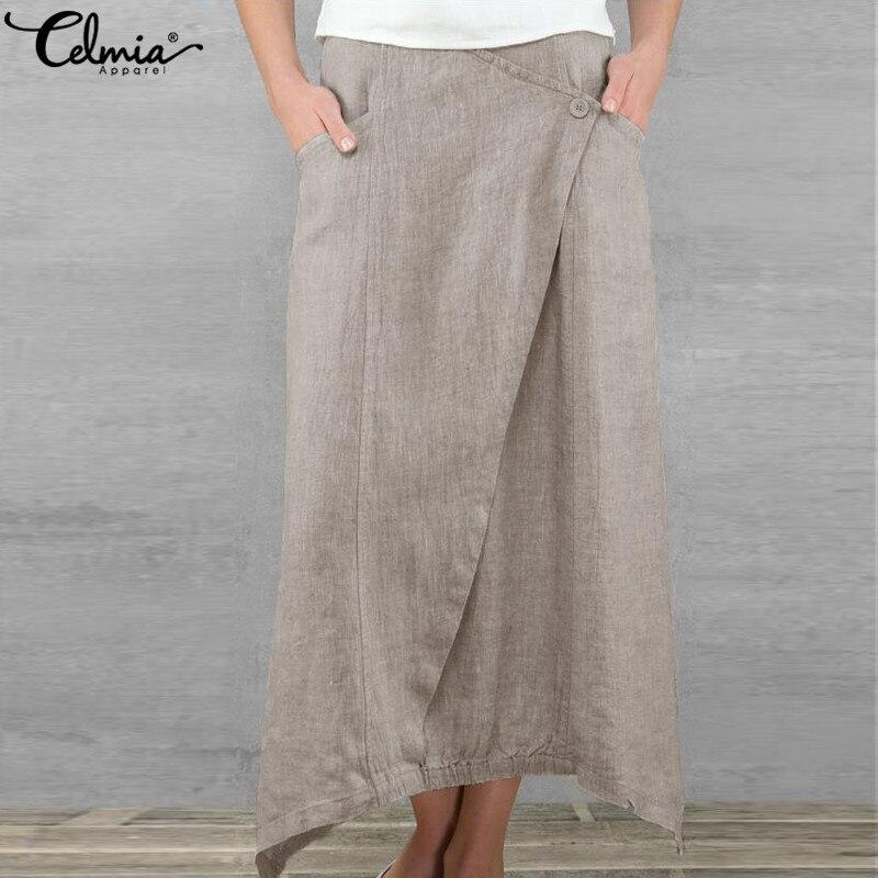 Celmia Vintage Women Maxi Skirts 2020 Summer Casual Loose High Waist Asymmetrical Linen Skirt Plus Size Long Pleated Beach Skirt