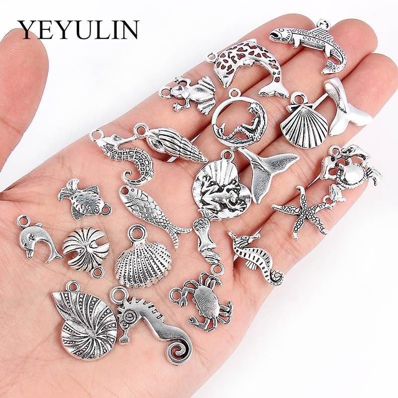 Lote de 40 Uds de colgantes de plata con diseño de caballito de mar con diseño de estrella de mar y Océano, accesorios de joyería DIY