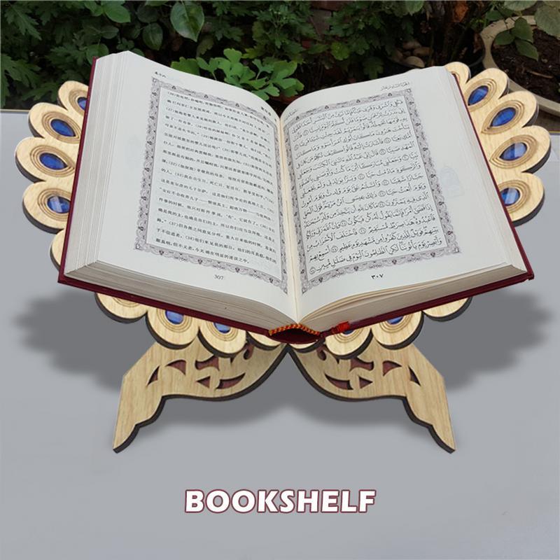 Corán musulmán LIBRO DE MADERA soporte decorativo estante extraíble Ramadán Alá islámico regalo hecho a mano madera libro Decoración