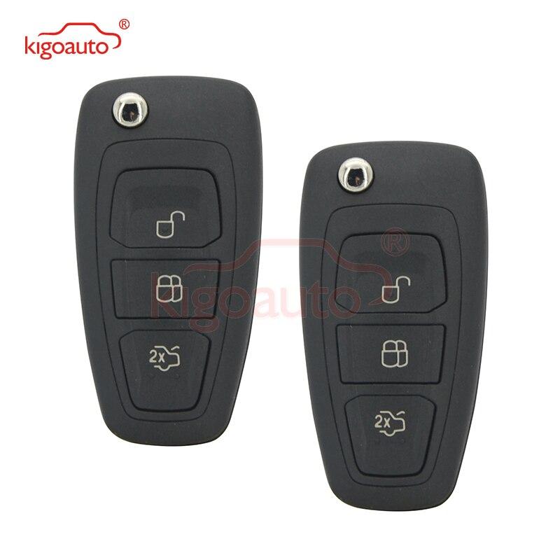 Kigoauto 2 pces 2036872 chave da aleta remota do carro para o foco c-max s-max am5t15k601ad 2011-2014 3 botão 434mhz fsk 4d63 chip
