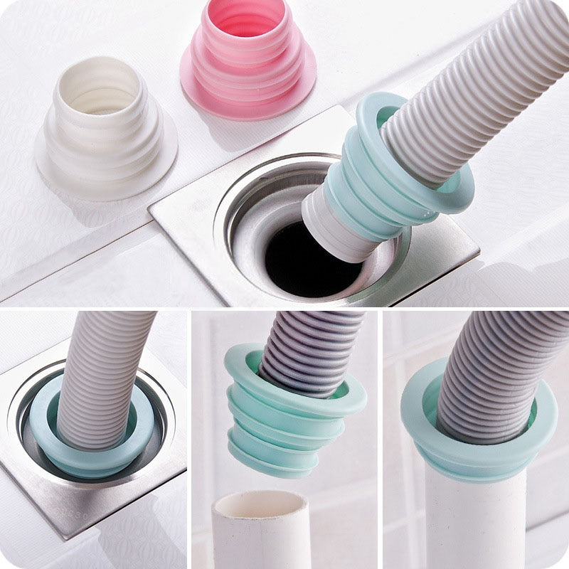 1Pcs Plastic Deodorant Wash Machine Pipe Connector Tools Sealing Plug Trap Anti-odor Telescopic Sewer Pipe Accessories