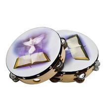 10 pouces tambourin Musical Percussion réfléchissante cadre en bois Double rangée en métal Jingle église bande Instruments de musique cadeaux