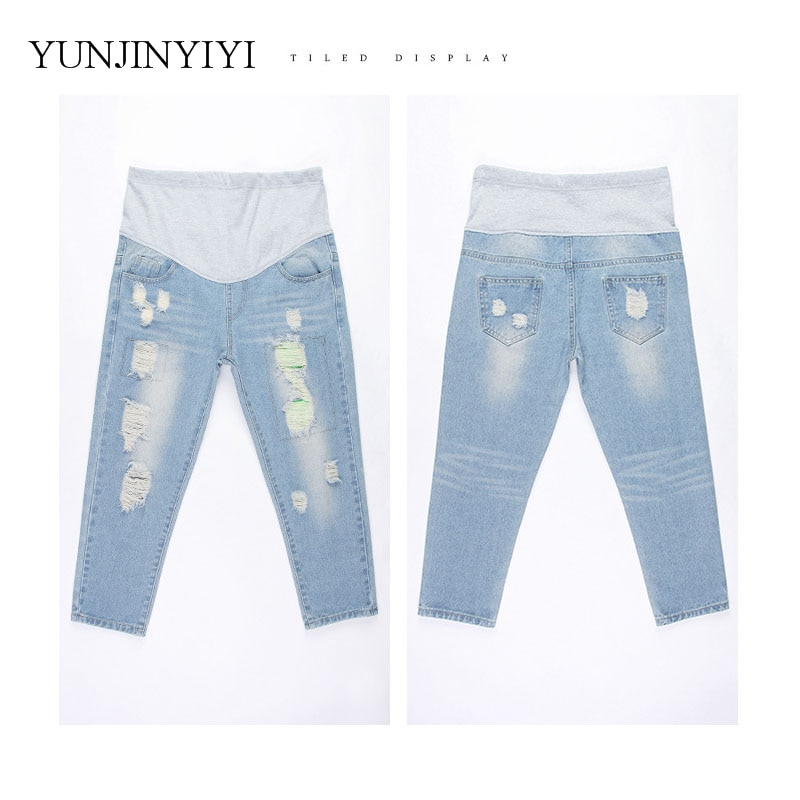 Pregnant women pants nine pointsPregnant women denim pantsClothing for pregnant women care bellyClothing Pants maternity clothes enlarge