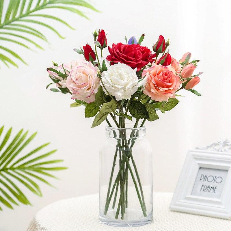 Lan Kwai Fong simulación Rosa 1 flores 2 brotes Rosa Planta artificial con flores decoración de la boda del hogar plantas en macetas flor organizar