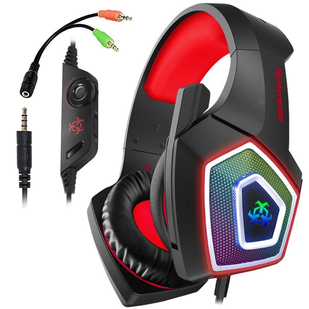 Auriculares Gaming Hunterspider para PS4, auriculares con cable de sonido estéreo de 3,5 Mm con micrófono auriculares coloridos con luz LED para ordenador portátil