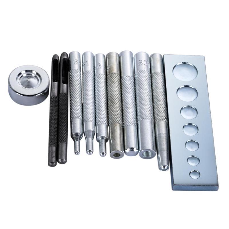 11 Uds DIY herramienta de cuero troquelado agujero remache botón Kit de punzones básico de cuero herramientas artesanales perforadores