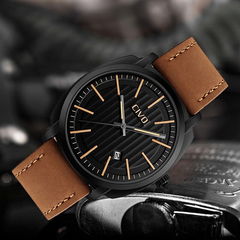 Reloj de pulsera deportivo CIVO a la moda para hombre, reloj de cuarzo con fecha análoga a prueba de agua, reloj militar masculino Jam Tangan Pria