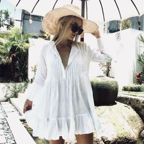 2019 NEW Women White Long Sleeve Sweet Holiday Ruffles Bikini Cover Up Swimwear Bathing Summer Beach Loose Blouse Shirt Dress