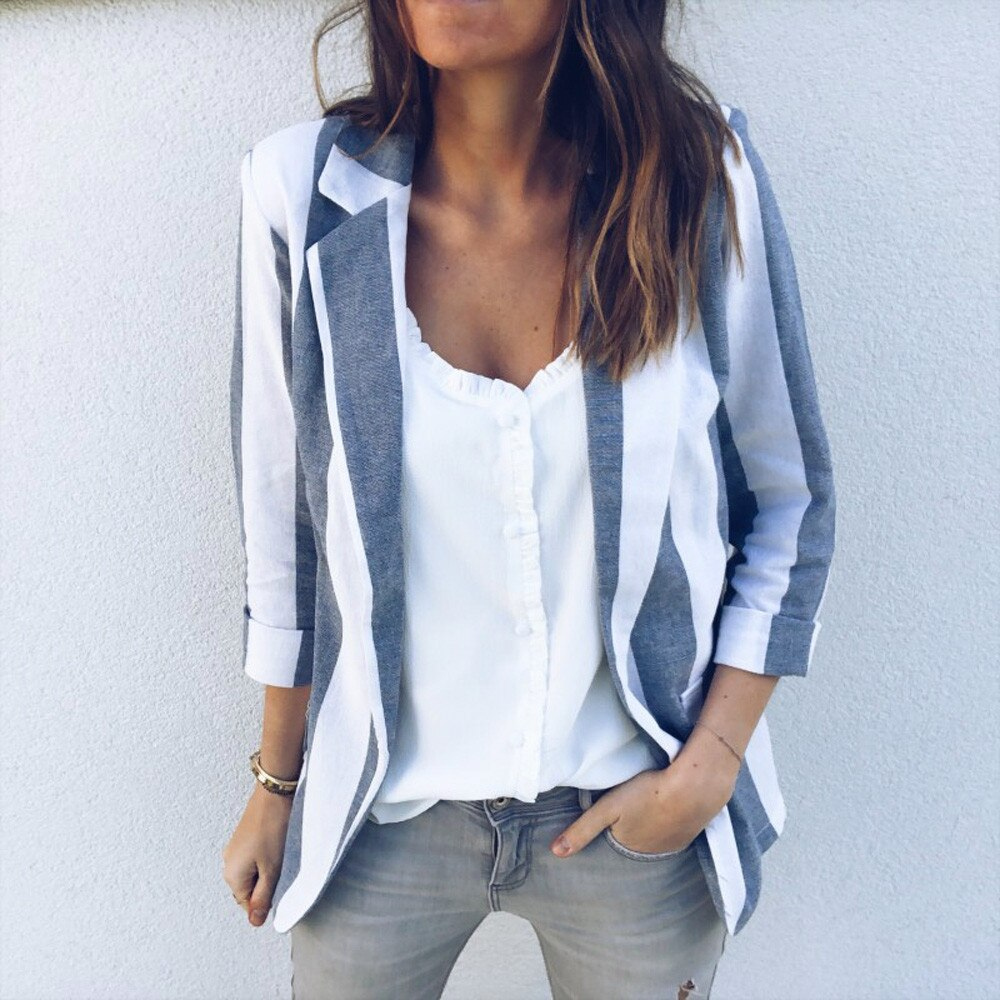 Otoño Slim Fit mujeres chaquetas formales de manga larga Blazer oficina trabajo rayas damas Blazer abrigo gran oferta de moda