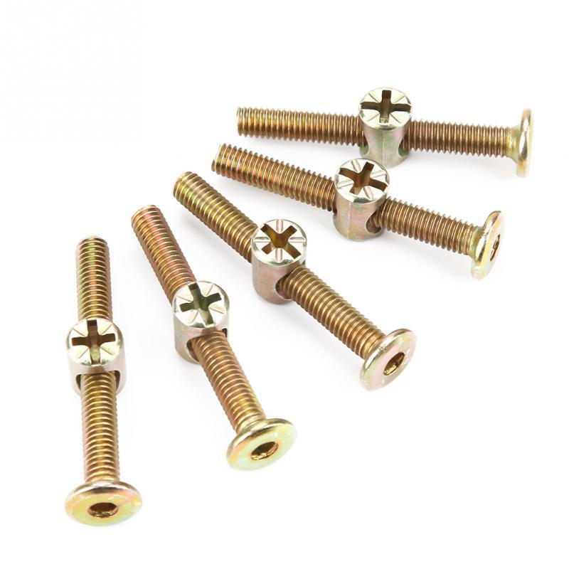 10 Uds M6 pernos de conector de acero al carbono 50mm perno de muebles con tuercas de barril de 6mm kit de tornillos y tuercas de conector