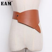 [EAM] 2020 New Spring Summer Black Pu Leather Brief Personality Irregular Design Wide Belt Women Fashion Tide All-match JO620