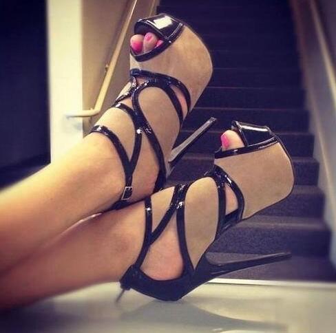 Sandalias de tacón de aguja con plataforma Peep Toe marrón de Moraima Snc, zapatos de mujer con correa en el tobillo, zapatos de fiesta súper altos