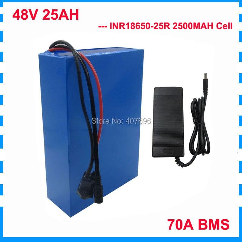 Batería de iones de litio de 2500W, 48 V, 25AH, 48 V, batería de bicicleta eléctrica de 48 V, celda INR 25R con cargador de 70a, BMS 2A, libre de aranceles aduaneros