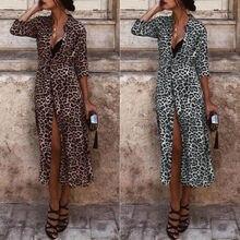 Women Autumn Long Sleeve Shirt Maxi Dress Ladies Casual Leopard Print V-Neck Slit Belt Dresses