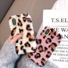 Mignon Lapin Moelleux Cheveux Fourrure Téléphone étui pour iphone X XS Max XR 8 7 6 6S Plus Léopard imprimé Couverture Belle Chaud Bling TPU Coque