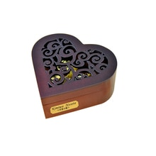 Christmas Music Box,Creative Hollow Cover 18-Note Gold Movement Wind-up Heart Wooden Musical Box wit
