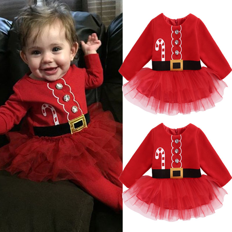 Pudcoco Baby Girl Dress Cute Christmas Princess Toddler Baby Girl Tulle Tutu Dress Party Outfits Costume
