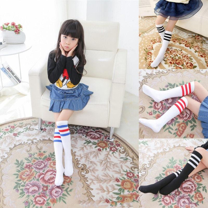 Pudcoco Kids Baby Boys Girls rodilla de algodón de longitud alta a rayas de deporte escolar calcetín 1 par
