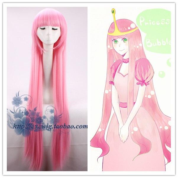Peruca de cosplay de princesa bubblegum, peruca de princesa rosa lisa e longa para fantasias