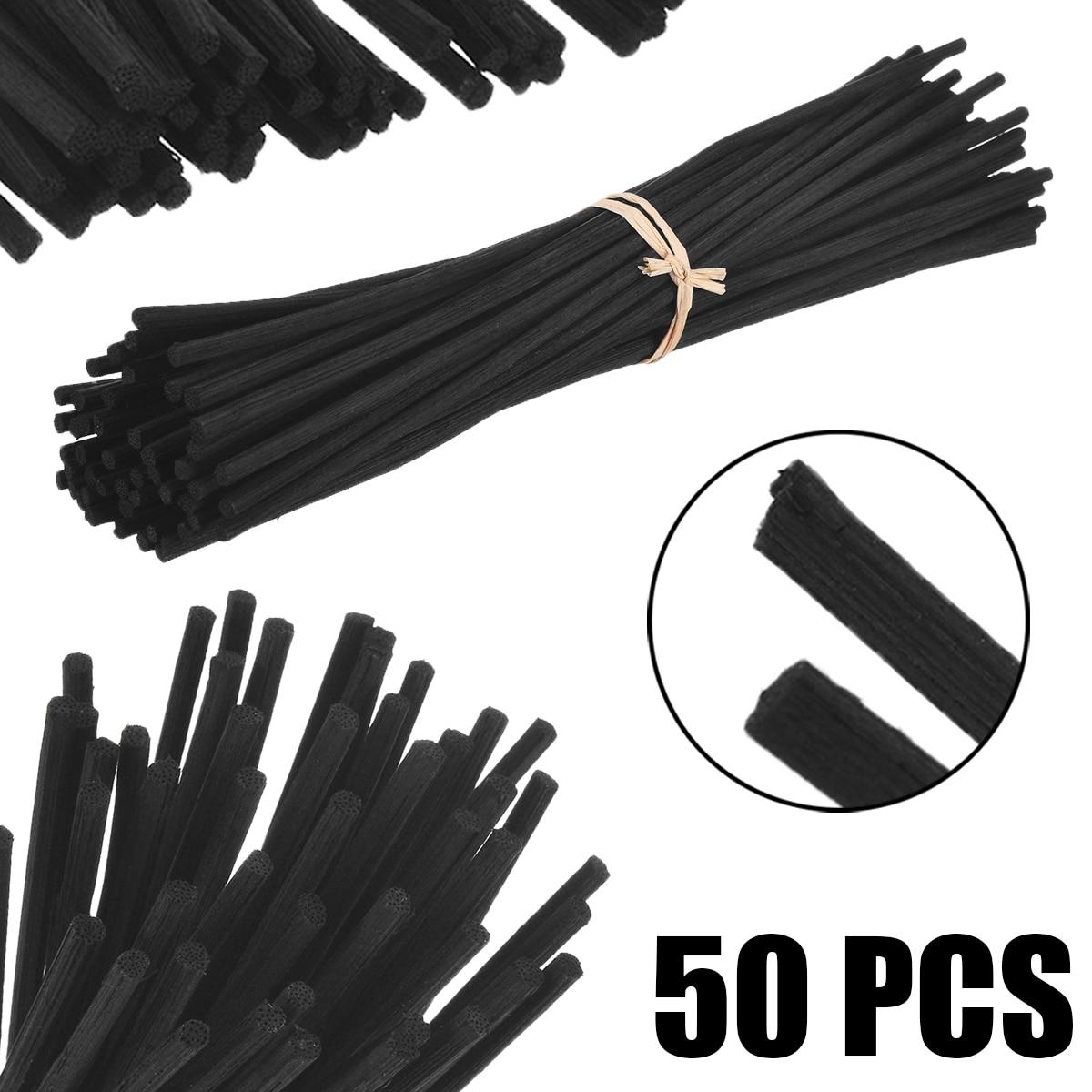 50 Uds. Difusor de aceite de fragancia negro palitos de ratán Reed reemplazo Stick para Fragancia casera difusor decoración Set