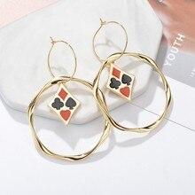 Individuality Women Playing Card Elements Drop Earrings Round Gold Earrings Handmade Korean Wedding Jewelry Circle Earrings
