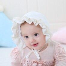 Spring Newborn Baby Summer Hat For Girls Bonnet Princess Lace Ruffled Baby Girls Sun Hat Cap Beanie Cotton Kids Flower Cap Muts