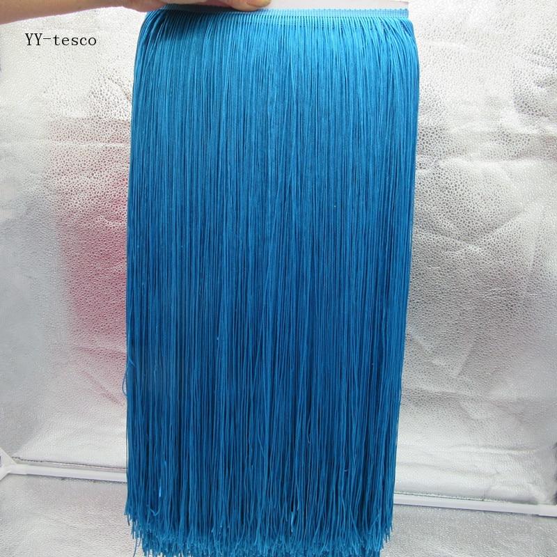 Yy-tesco 10 metros 100cm de ancho volante de flecos de encaje borla lago Azul volante de flecos ming para DIY Latino vestido accesorios de vestuario