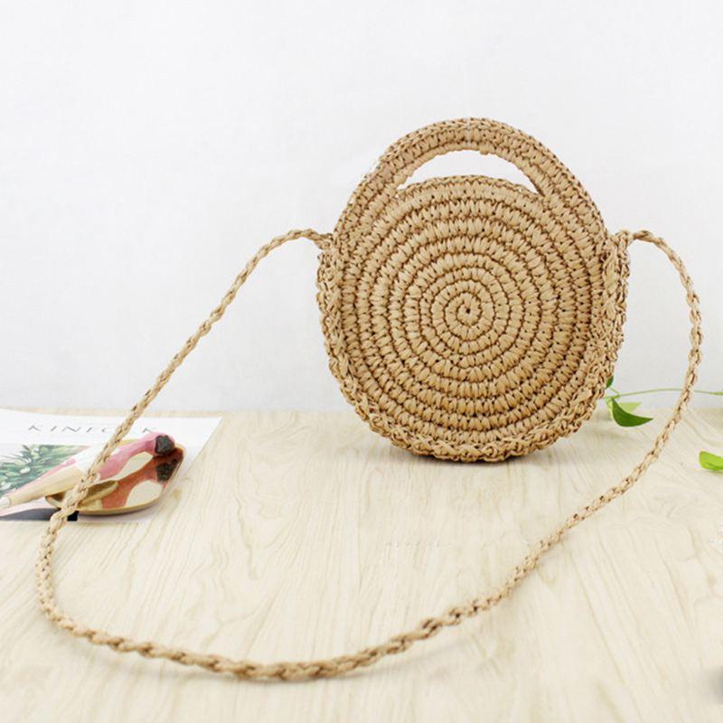 Novo-redondo corda de papel saco de praia verão mini vintage artesanal crossbody saco de couro meninas círculo rattan saco pequeno boêmio shoul