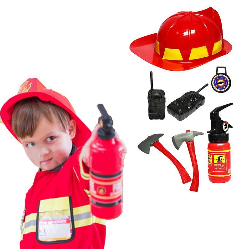 Disfraz de bombero Sam niños traje de simulación para niña niño fiesta uniformes conjunto de juguete bombero divertido sombrero ajustable