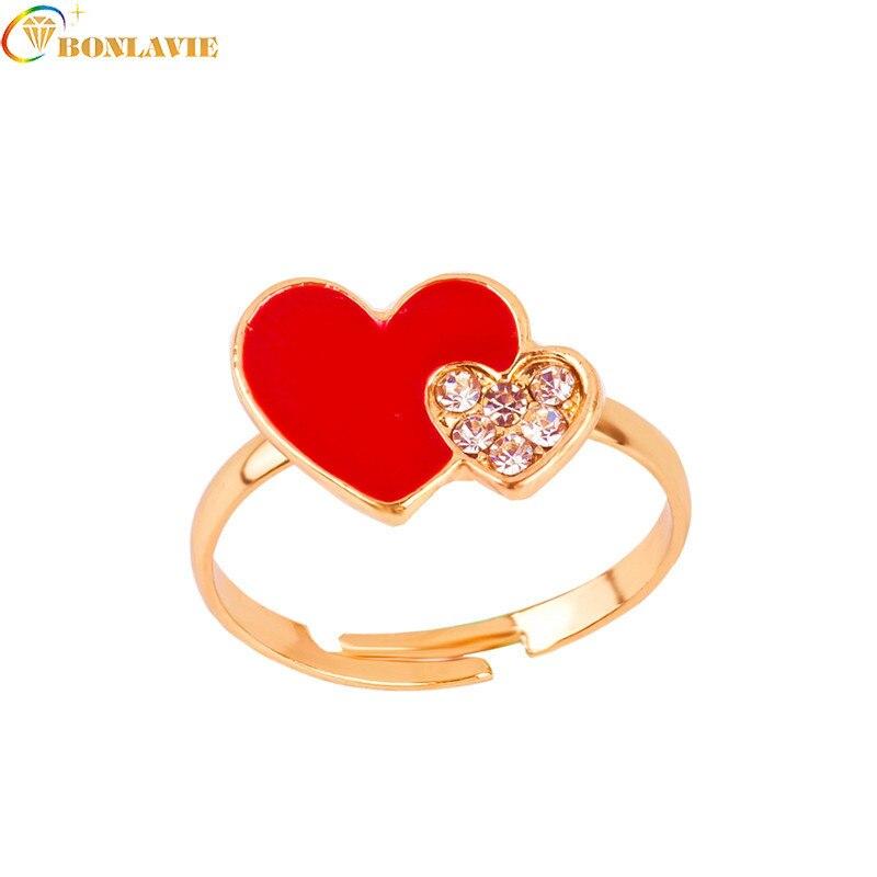 Anillos de doble corazón rojo para niños, diamantes de imitación, joyería bonita, gota de aceite, anillo ajustable de dibujos animados para niños, regalo para padres, moda Anelli