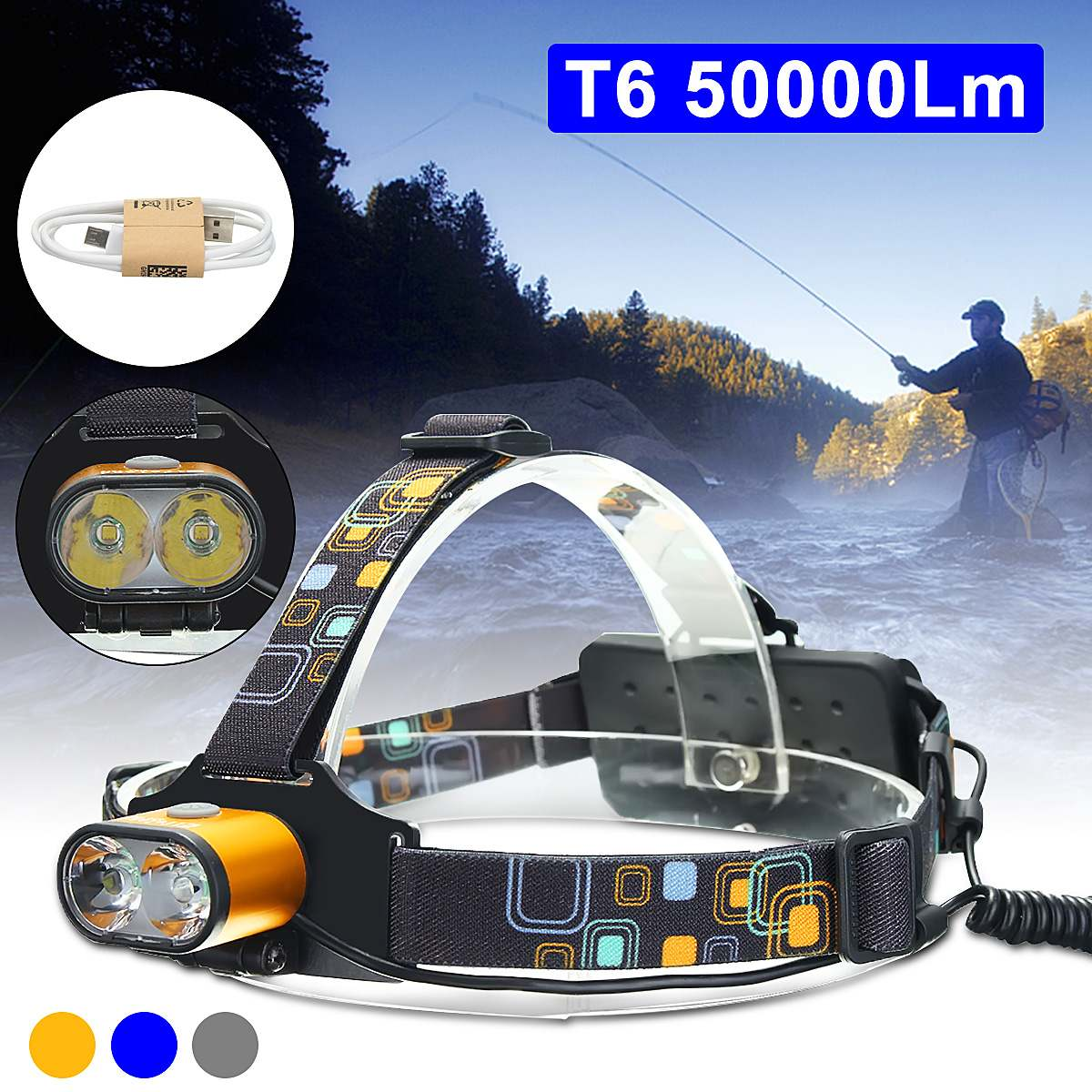 15000 Lumens LED phare de pêche étanche phare USB Rechargeable lumière de la tête utiliser 2*18650 piles lampe pour le Camping