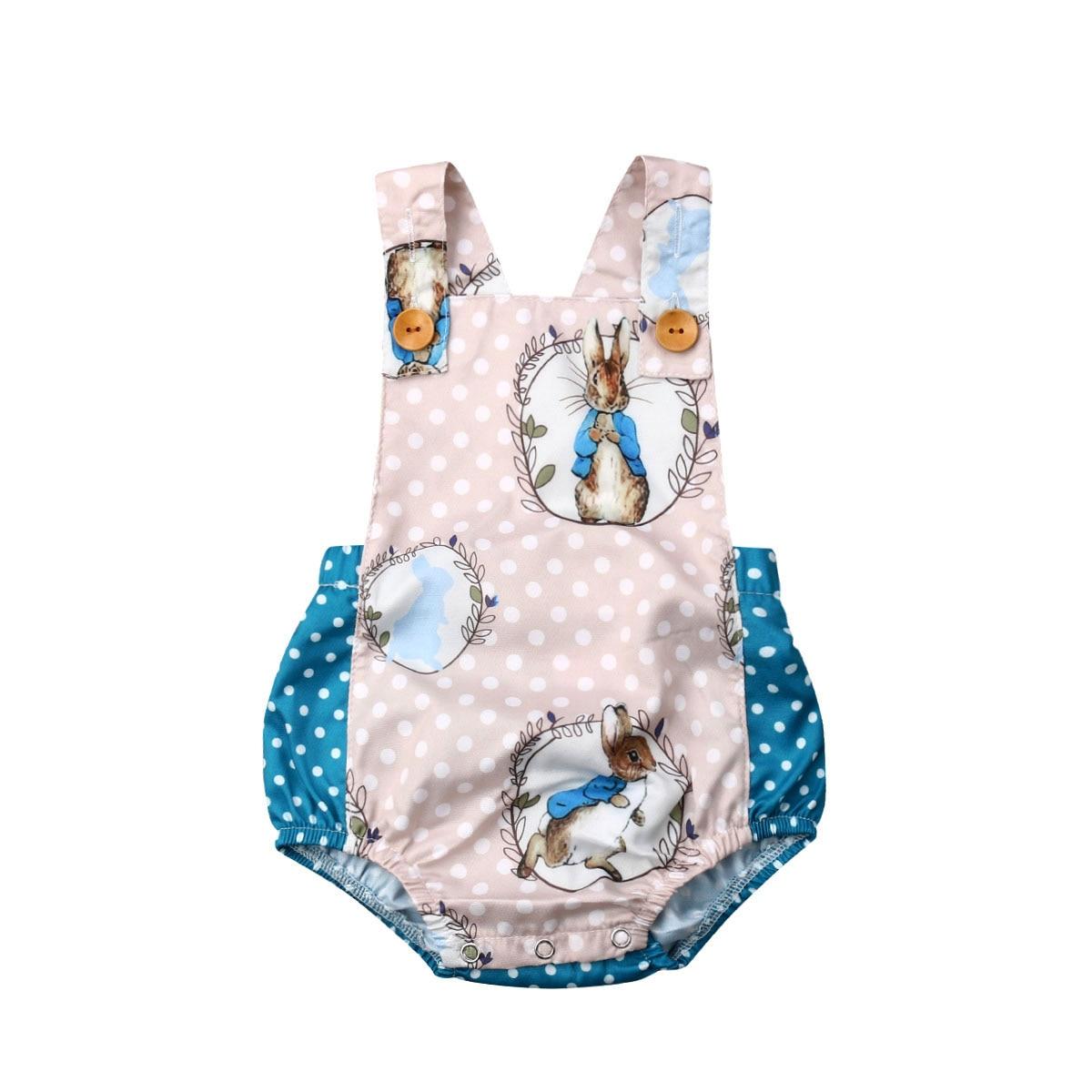 Recién Nacidos, niños, niñas, día de Pascua 2019, nueva marca de conejito, sin mangas, mono informal, conjunto de traje