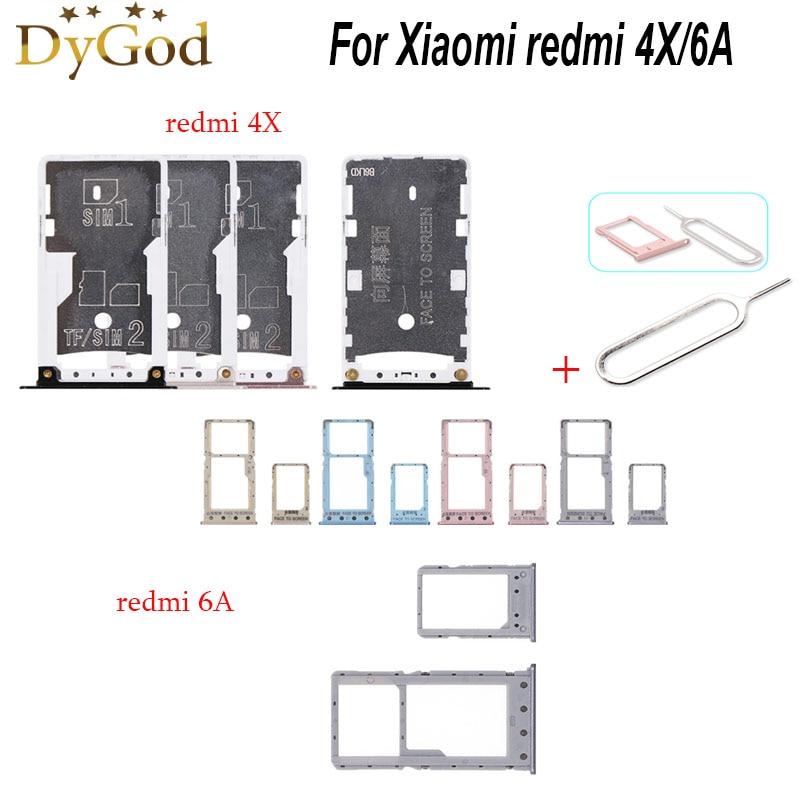 For Xiaomi redmi 4X SIM Card Tray Slot Holder Adapter Repair Accessories For Xiaomi redmi 6A With Ta