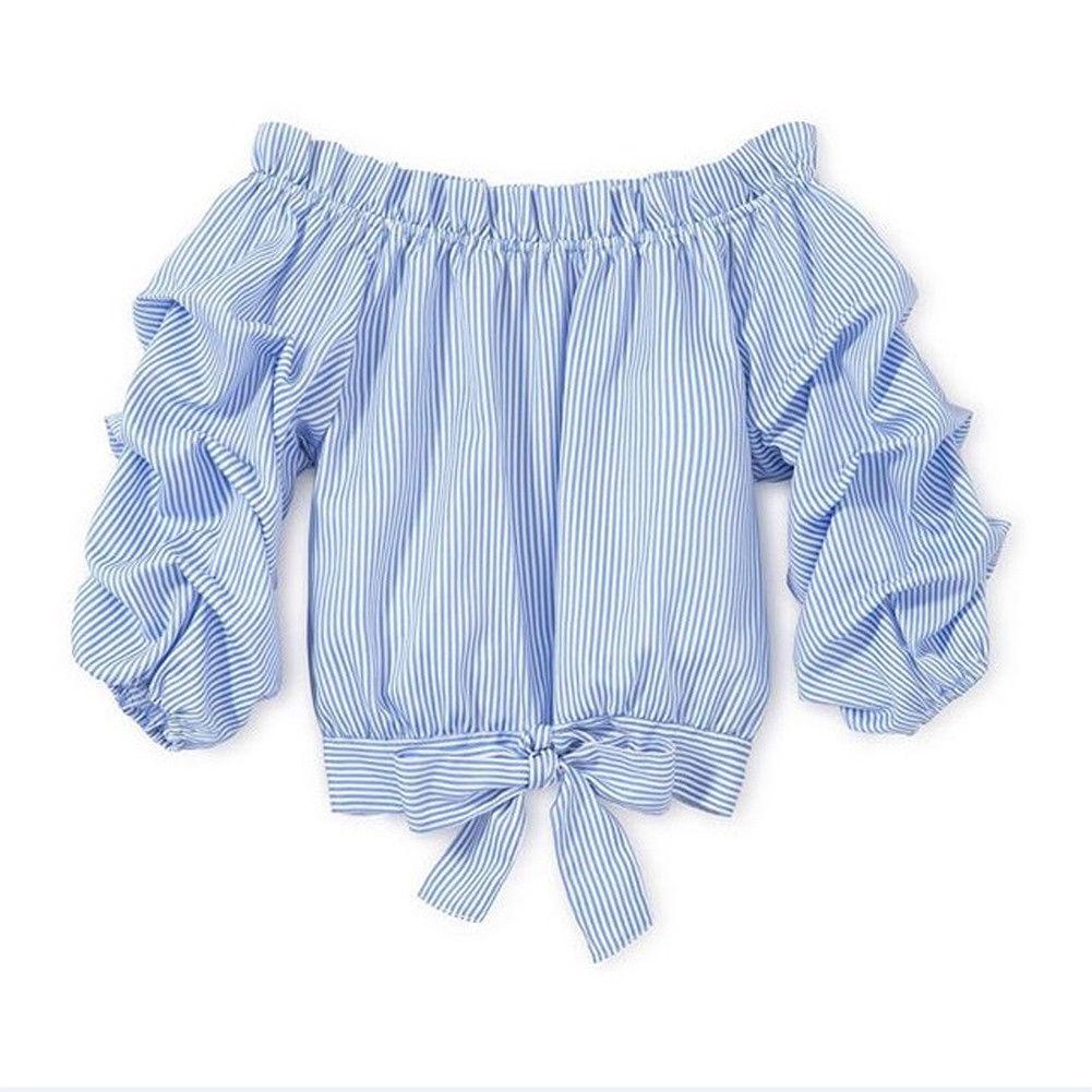 Pudcoco, nueva marca, camisetas con volantes para bebés y niñas, camisa a rayas de verano, ropa