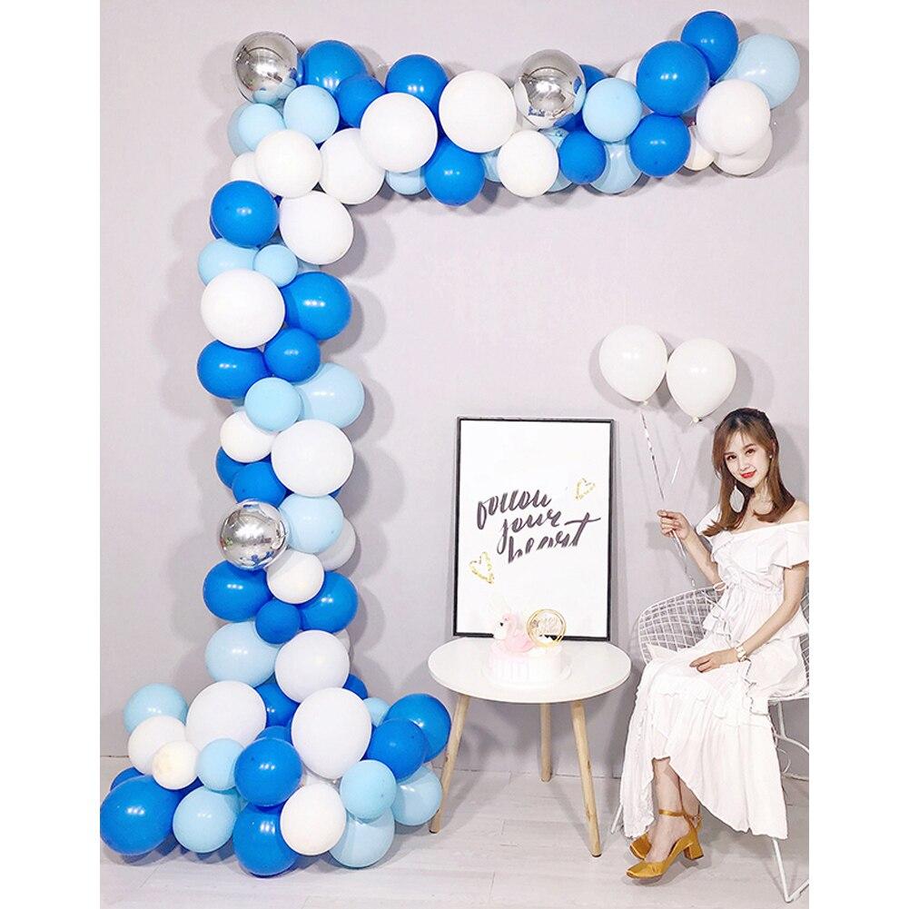 Set completo arco de globos accesorios para fotos Baby Shower suministros de decoración de fiesta bodas fondo de cadena de globos pared azul blanco