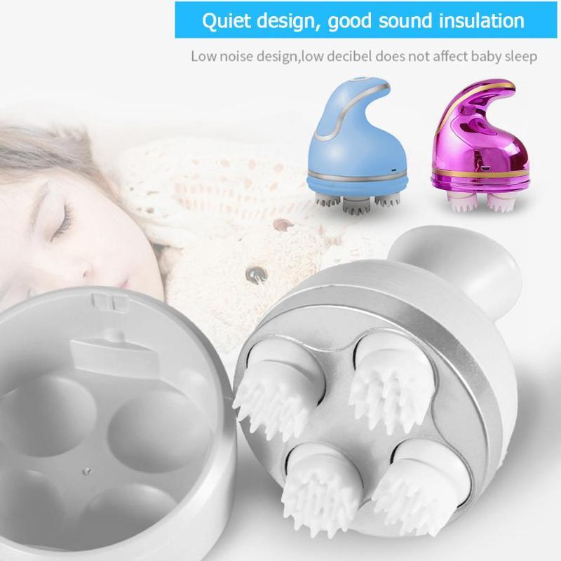 3D Electric Roller Head Massager Waterproof USB Charging Shampoo Roll Wheel Neck Massager Body Head Relax Health Care