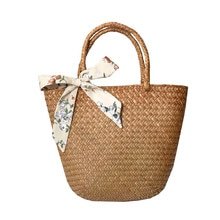 Casual straw bag natural wicker bags women braided basket bag handmade vintage big summer tote woven rattan beach bags woman