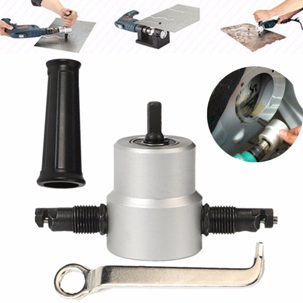 Bmby-profesional Nibble Metal cortador de doble cabeza hoja Nibbler Metal cortador herramienta de perforación accesorio de la placa de Metal Agujero Abierto Taladro