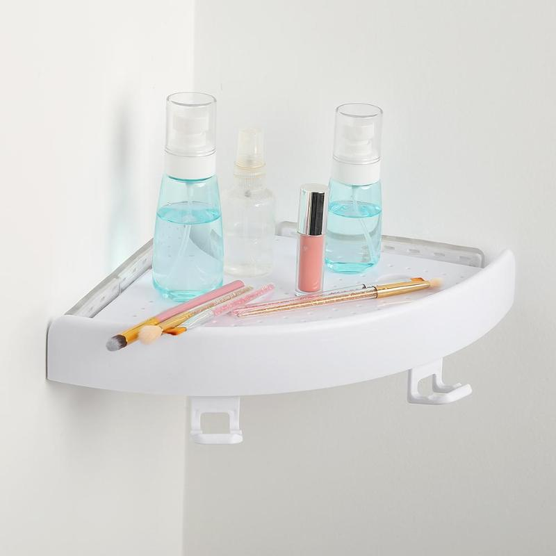Estante de baño Qrganizer, estante de esquina Caddy, estante de esquina plástica para baño, soporte de pared para ducha, soporte para champú