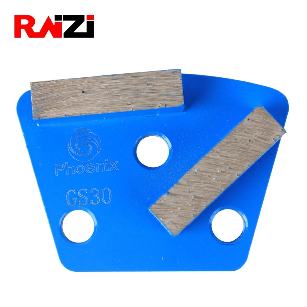 RAIZI Trapezoid Three 9mm Holes Grinding Disc Pad Scrapers 3For ASL Grinder Concrete Floor Power Tool Medium Bond Grit 30