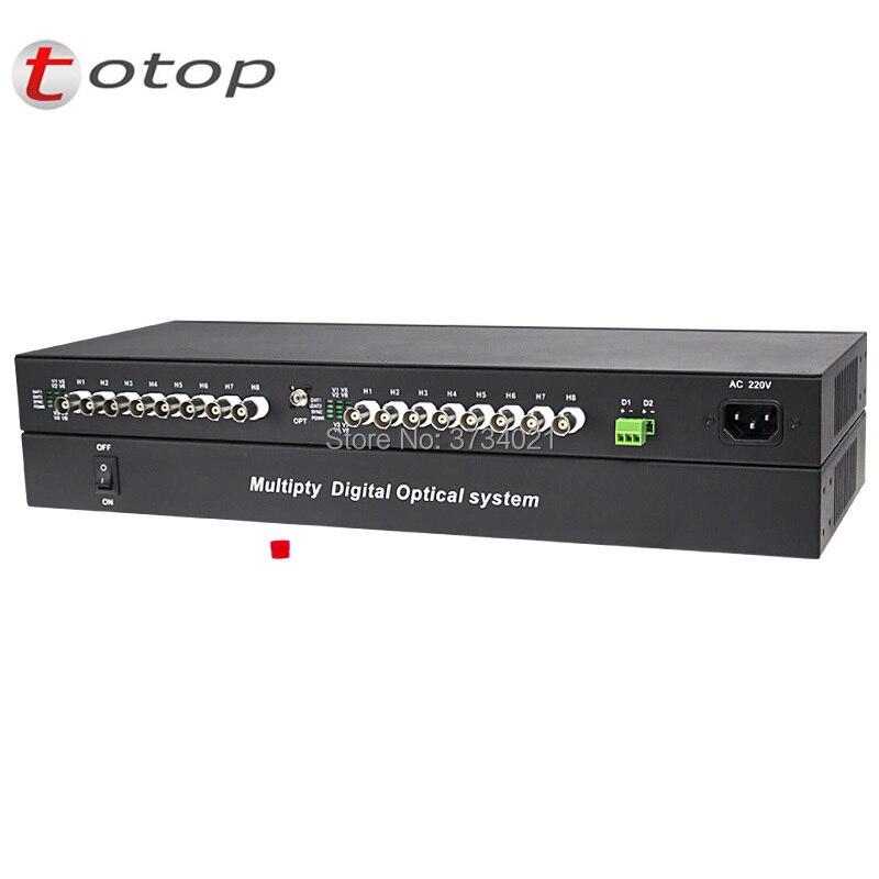 960P HD video AHD CVI TVI transmisor óptico, 2U Chiassis tipo 16CH video con reverso RS485 datos fibra óptica transceptor 20KM