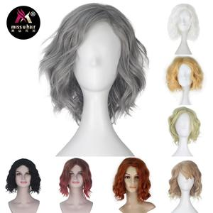 Miss U Hair Synthetic Short Curly Grey Black Blond White Green Wig Adult Prestyled Cosplay Wig Women Party Halloween Wigs