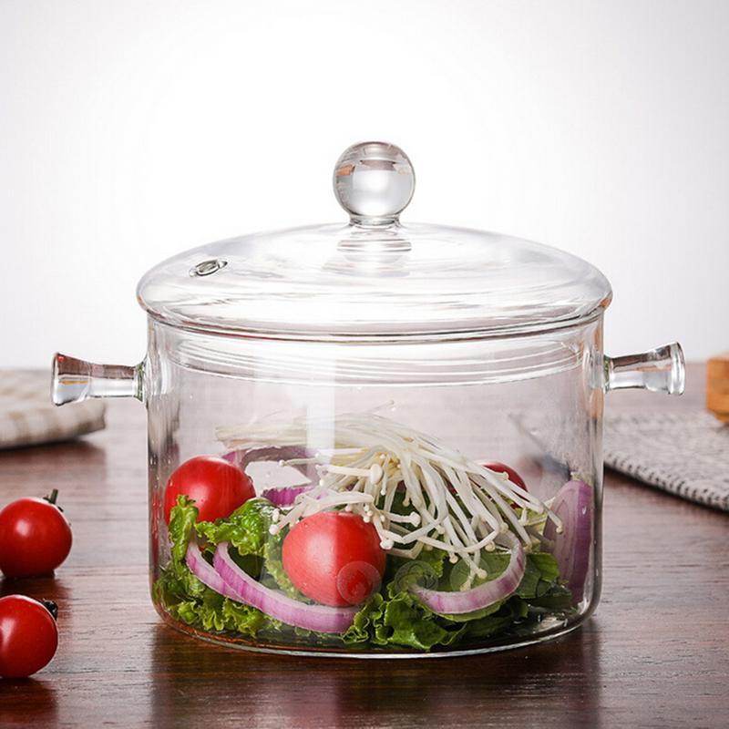 وعاء من الزجاج البوروسيليكات بسعة 1500 مللي, موقد كهربائي من السيراميك ، وعاء زجاجي للتسخين مع غطاء ، وعاء المعكرونة الفورية