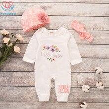 Herbaby-barboteuse à manches longues   Vêtements pour bébés filles, 3 pièces, pour enfants, chapeau, couvre-chef, tenue pour bébés