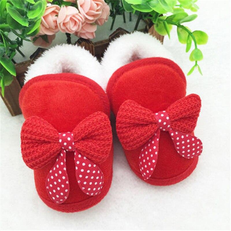 Heißer Verkauf Baby Mädchen Neugeborene Pram Krippe Schuhe Winter Warme Kleinkind Infant Sneaker Prewalker Bogen Patchwork Dot Print Weiche Krippe schuhe