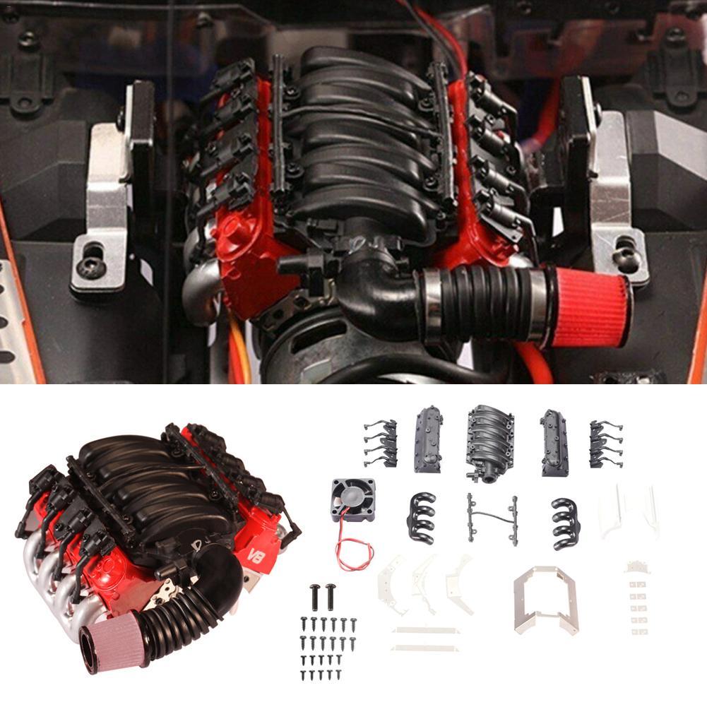 Radiador de la cubierta del motor V8 de simulación para Traxxas TRX4 D90 D110 D130 SCX10