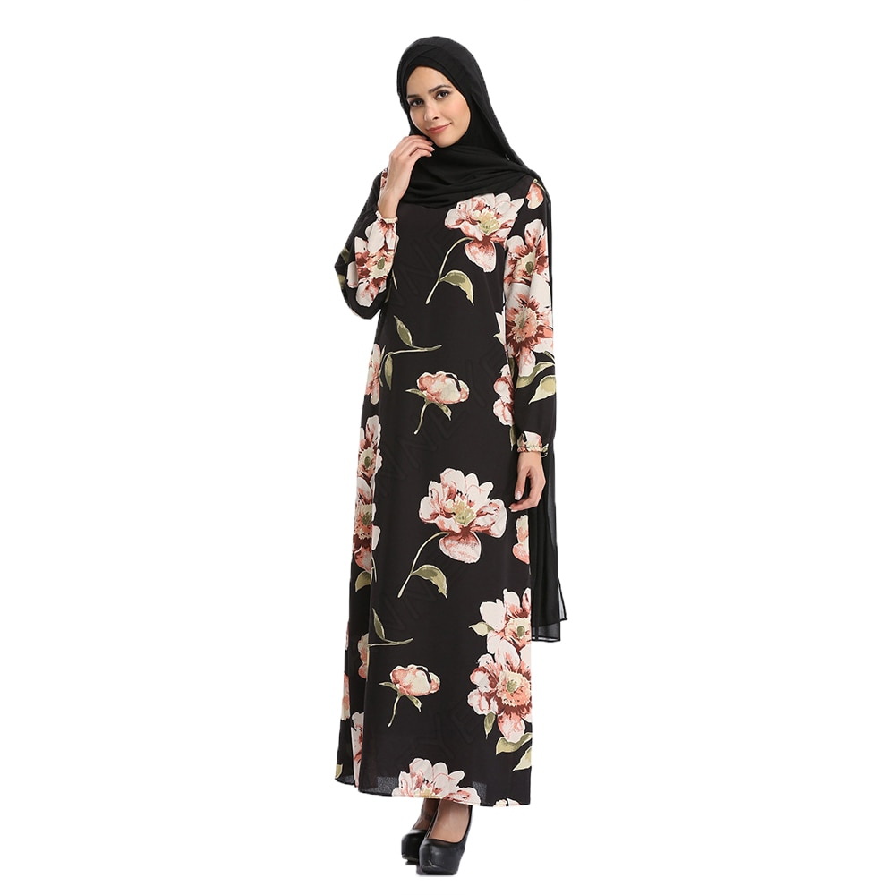 New Muslim Women Long Sleeve Floral Dubai Dress Maxi Abaya Islamic Clothing Robe Moroccan Embroidery Vintage Dress Turkish Dress cross border women s clothing vintage printed palace style large swing dress dubai long dress clothes for muslim women