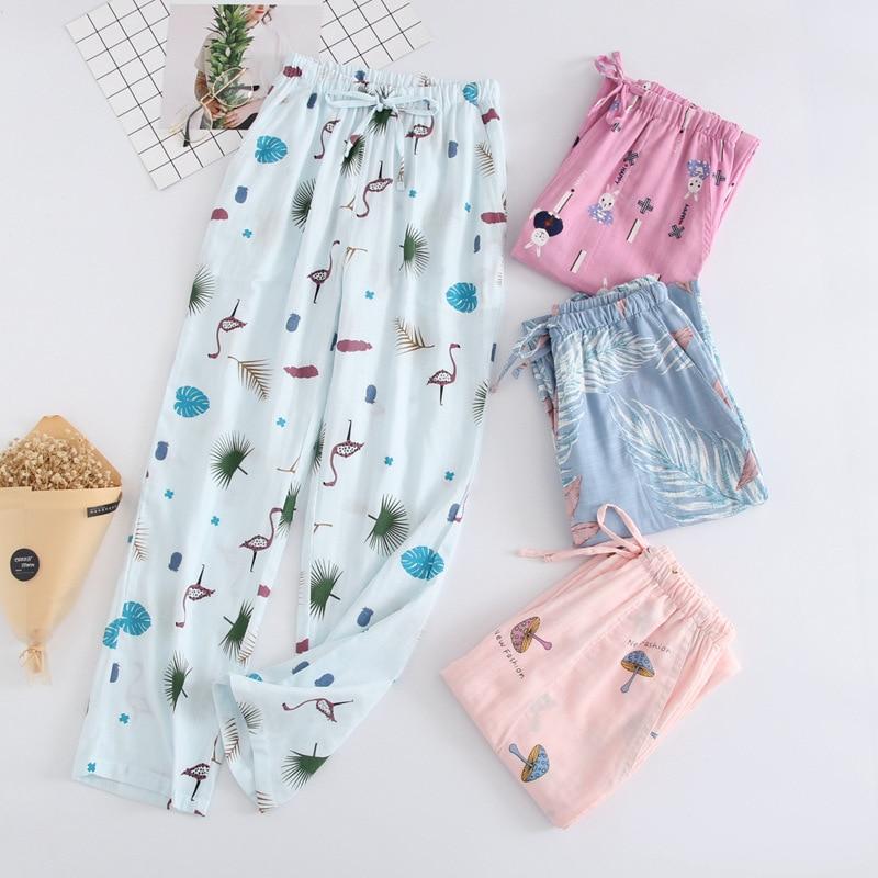 Autumn New Pajamas Sleep Pants 100% Cotton Double-decker Gauze Trousers Japanese Loose Sleep Bottoms Home Pants Pijama 18 Colors
