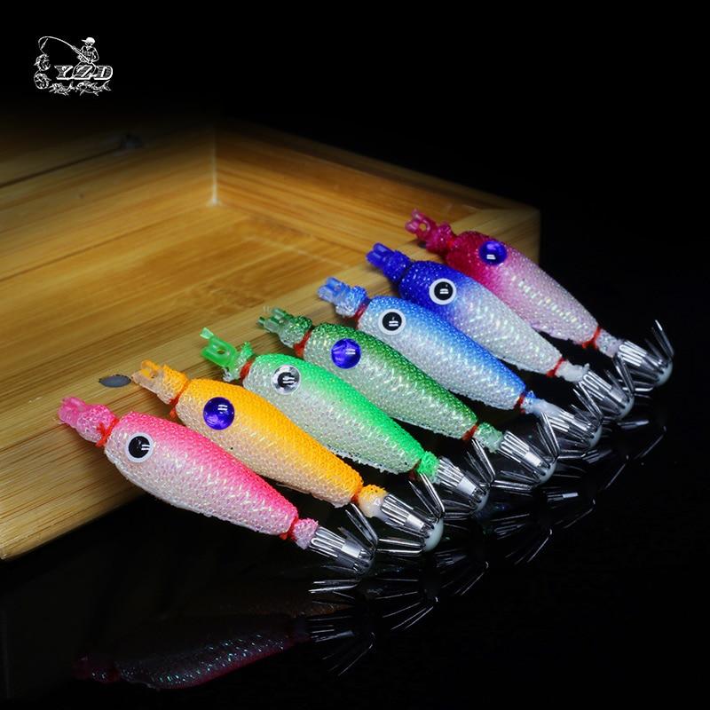 Novo 7 pçs luminosa lula jigs luz guarda-chuva gancho de aço inoxidável pesca camarão 1.5 polvo isca jigging